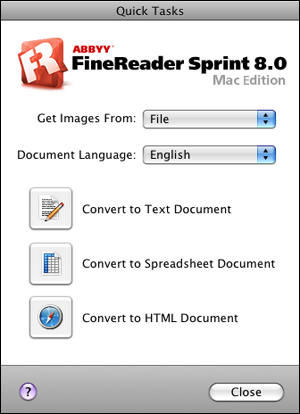 Open The Applications Folder And Click ABBYY FineReader Sprint Icon You See This Window
