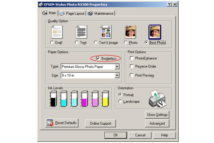 how to get rid of borderless setting on epso printer