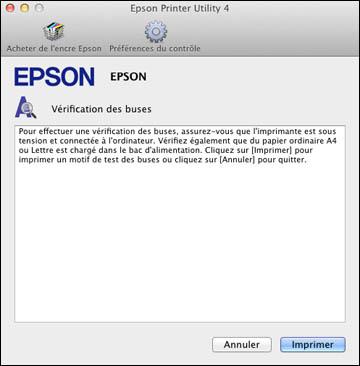 V rification des buses en utilisant un utilitaire de votre for Fenetre utilitaire mac