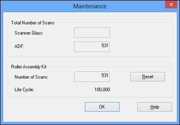 Resetting the Scanner Roller Counter