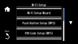 Selecting Wireless Network Settings From the Control Panel