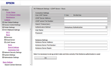 Configuring the LDAP Server and Selecting Search Settings