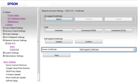 Configuring a Server Certificate for the Product
