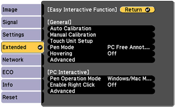 Controlling Computer Features from a Projected Screen (PC