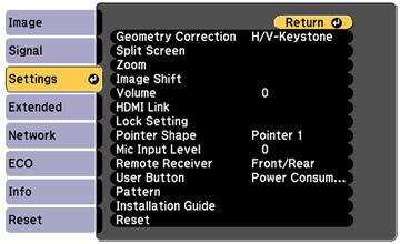 Projector Feature Settings - Settings Menu