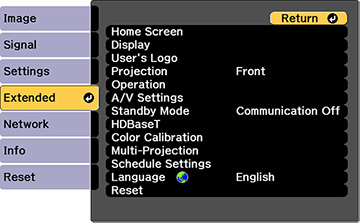 Projector Setup Settings - Extended Menu