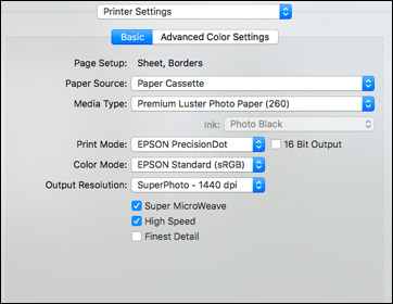 Selecting Basic Print Settings - Mac