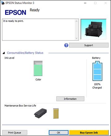 Checking Cartridge and Maintenance Box Status with Windows