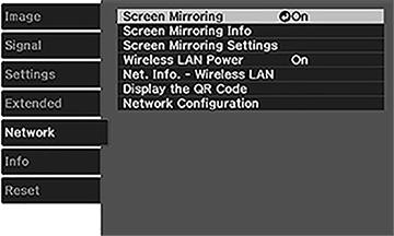 Projector Network Settings - Network Menu
