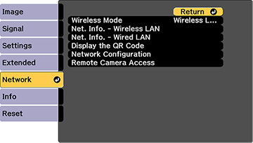 Projector Network Settings - Network Menu