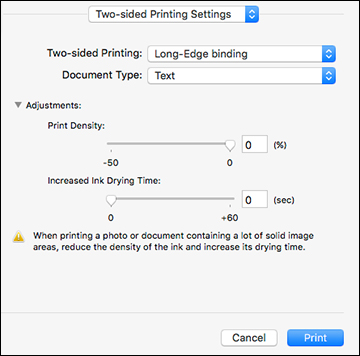Selecting Double-sided Printing Settings - Mac