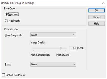 Epson TIFF and Multi-TIFF File Settings