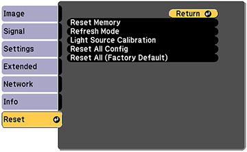 Projector Reset Options - Reset Menu