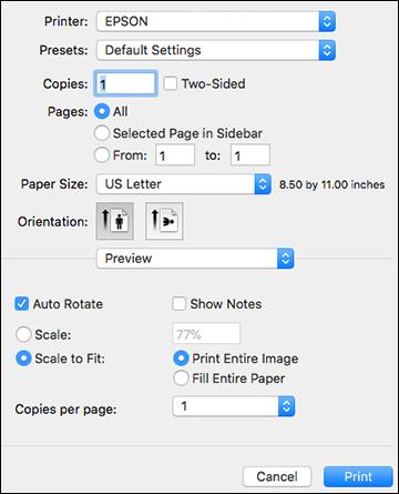 Selecting Print Settings - PostScript Printer Software - Mac