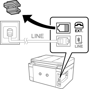 how to connect fax printer to phone line