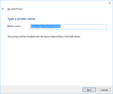 modify the printer name if desired and select next to install the printer