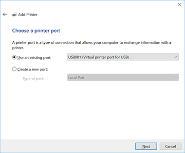 select use an existing port and in the drop down list to the right select usb001 virtual printer port for usb