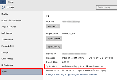 Windows 10 System type