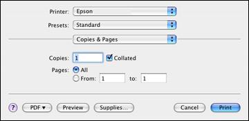 Selecting Basic Print Settings - Mac OS X 10.4