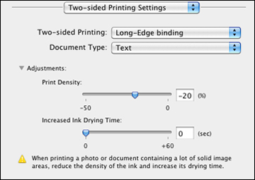 selecting double sided printing settings mac os x 105106107