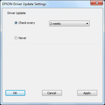 Changing Automatic Update Options - Standard EPSON Printer Software