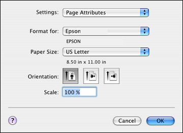 selecting page setup settings mac os x 10 4