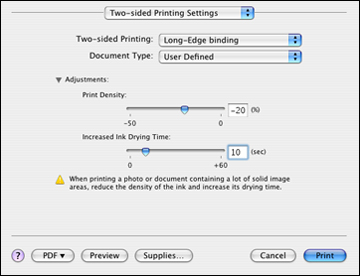 Selecting Double-sided Printing Settings - Mac OS X 10 4