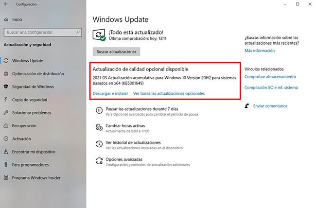 Pantalla de actualización de software de Windows 10
