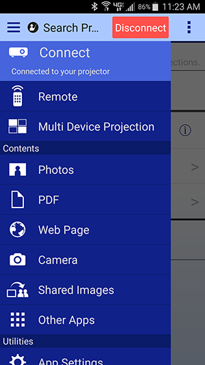 Using the Remote Control Feature for the Epson iProjection