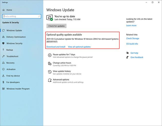Windows 10 software update screen